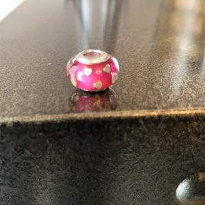 Pink Murano Glass Heart Charm/Bead